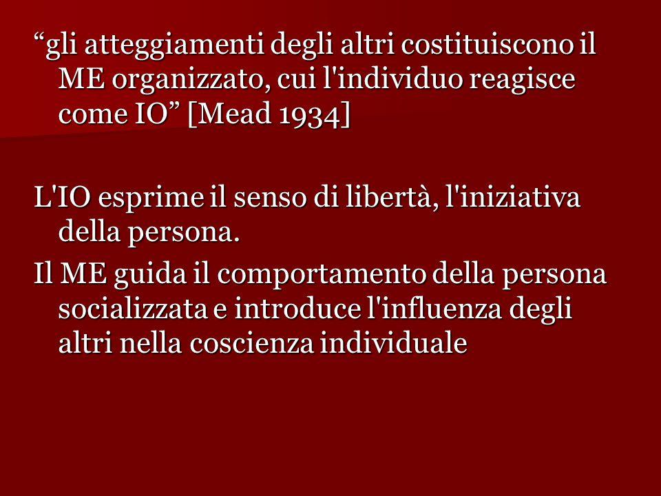 gli atteggiamenti degli altri costituiscono il ME organizzato, cui l individuo reagisce come IO [Mead 1934]